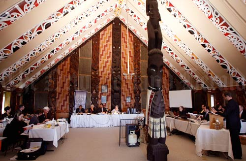a photo of the Waitangi Tribunal sitting in a meeting house
